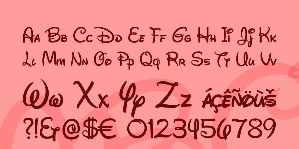 tipografía fuente disney